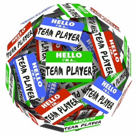 banding: Hello I am a Team Player words on name tags or stickers in a ball or sphere to illustrate a group, workforce or staff collaborating or cooperating in working toward a common goal or mission
