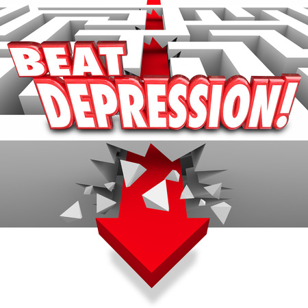 despondency: Beat Depression 3d words on a maze and arrow breaking through the wall to illustrate overcoming the mental illness, condition, disorder or disease