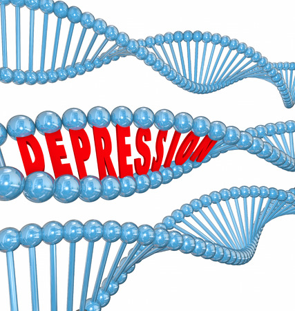 despondency: Depression word in 3d letters in a DNA strand to illustrate that the disease or mental illness or disorder may be hereditary or genetic Stock Photo