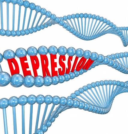 Depressione parola in lettere 3d in un filamento di DNA per illustrare che la malattia o la malattia mentale o disturbo possono essere ereditaria o genetica Archivio Fotografico - 34427004