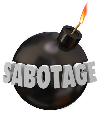 subversion: Sabotage word in 3d letters on a black round bomb to illustrate someone working to undermine, disrupt, destruct or blow up a goal, mission, building or project Stock Photo