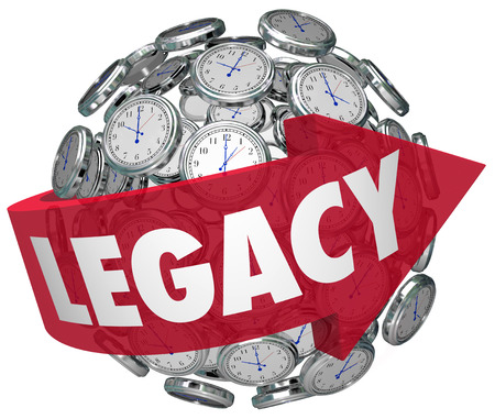 ensuring: Legacy word on a red arrow around a ball or sphere of clocks to illustrae a memory or lasting impression for future time or tomorrow