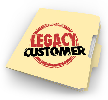 long lasting: Legacy Customer words stamped on a manila file folder for a client or buyer who is faithful, reliable, loyal and long-time supporter of your business or company Stock Photo