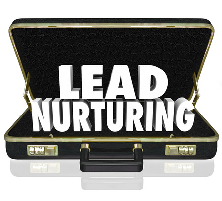relevance: Lead Nurturing 3d words in a black leather briefcase to illustrate a sales or marketing campaign to educate customers, clients or prospects about your products or service
