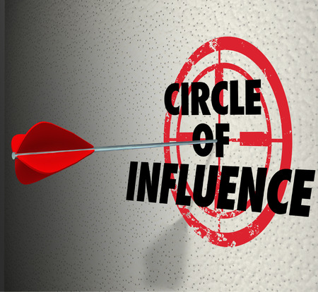Circle of Influence words on a target with arrow hitting it to illustrate communicating a message to your contacts, friends and family for sales or business mission Stock Photo