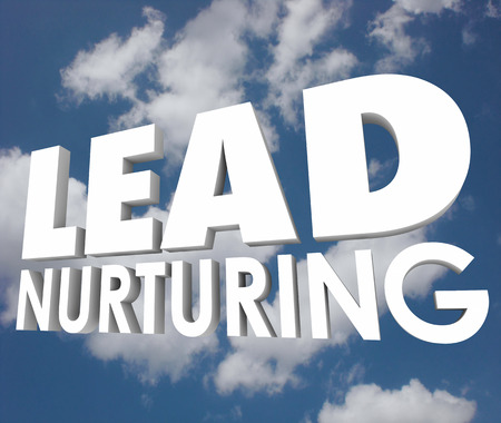 validated: Lead Nurturing 3d words on a cloudy blue sky to illustrate a selling process of educating prospects, customers and clients about your products and services