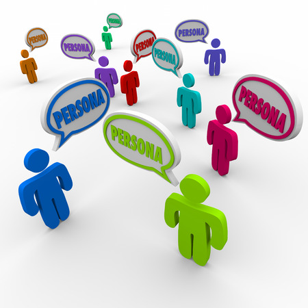 Persona word in speech bubbles over customer heads to illustrate client or buyer information or profiles in business prospecting Banque d'images
