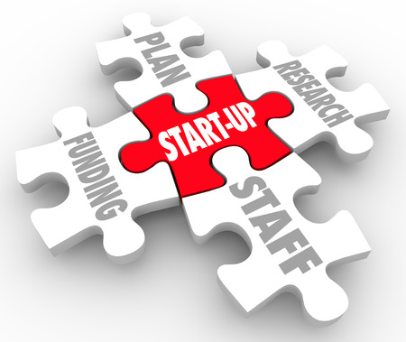 aspects: Start-Up word on a red puzzle piece surrounded by other aspects or elements of your new business or company strategy including plan, funding, staff and research Stock Photo