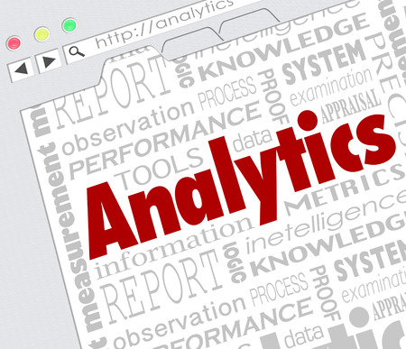 figuring: Analytics word on an internet website screen to illustrate resources or tools to measure metrics of success for an advertising or other business campaign or project Stock Photo