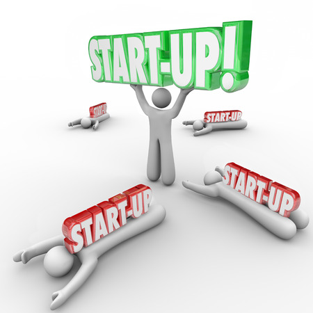 Start-Up 3d words held by business person or entrepreneur while competitors fail and are crushed under the weight of their failed companies photo