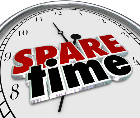 Spare Time 3d words on a clock face to illustrate spending free or Leisure time of fun recreational activities 스톡 콘텐츠