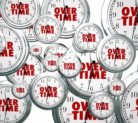 empleados trabajando: Palabra de horas extras en los relojes volando para ilustrar el paso del tiempo a medida que realiza un trabajo extra o adicional a altas horas de su trabajo