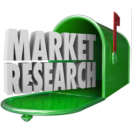 direct sale: Market Research in 3d words in a green metal mailbox to illustrate customer or buyer research, surveys or studies into buying habits or patterns via direct mail