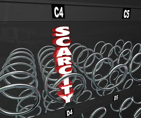 figuring: Scarcity word in 3d letters in a snack or vending machine as the last one left in a product that is in rare or limited supply and high demand