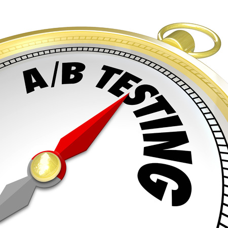 AB Testing words on a compass pointing you in the direction of the best performing message with your audience or customers photo