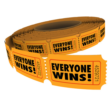 fundraiser: Everyone Wins words on raffle tickets in a fundraiser where entering the contest or drawing benefits all involved