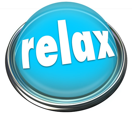 cool down: Relax word on a 3d button or light illustrating a reminder to calm down or cool off with rest, recreation, entertainment, fun or enjoyment Stock Photo