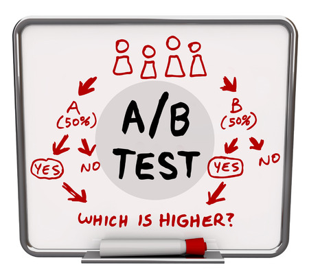 exam results: AB Test words written on a dry erase board with diagram or flowchart illustrating how a dual input experiment can find the better solution, platform or message for your audience
