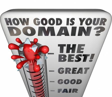 autoridad: ¿Cuál es tu pregunta de dominio en un termómetro de medición de la calidad o la forma memorable su nombre comercial en un sitio web o internet url Foto de archivo