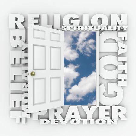 belief system: Religion word and related terms like god, belief, morality, spirituality, prayer, devotion and faith around a door opening to a new life