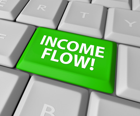 cashflow: Income Flow words on a green key or button on a computer keyboard to illustrate additional cashflow or earnings from an internet e-commerce business or investments