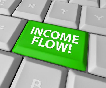 cashflow: Palabras flujo de ingresos en una tecla verde o un bot�n en un teclado de computadora para ilustrar el flujo de caja adicional o ganancias de un negocio en Internet e-commerce o inversiones