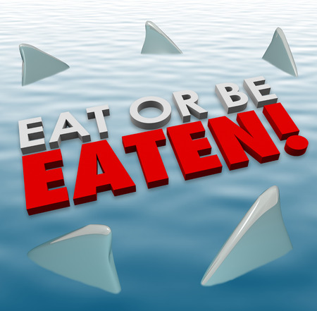 fierce competition: Eat or Be Eaten words on water surface with shark fins swimming around you to illustrate deadly, fierce, powerful competition in an aggressive game in busines, career or life