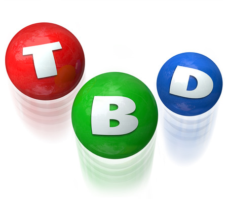 outcome: TBD letters on balls juggled to illustrate a decision that is To Be Determined, undecided, indecisive or unknown -- just wait for the answer or outcome