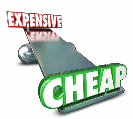 cheap: Cheap Vs Expensive 3d Words on a scale or balance to illustrate or compare prices or costs to find the best deal, bargain or value