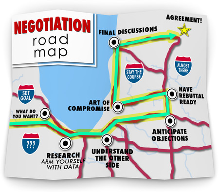 compromise: Negotiation word on a road map ponting you with direction to set your goals, research options, compromise and reach an agreement that has mutual benefit