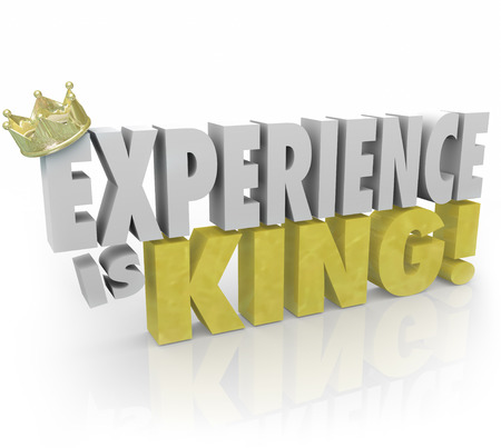 candidates: Experience is King 3d words and crown to illustrate the importance of knowledge, skills, education and expertise in your job or career Stock Photo