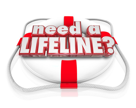 rescuing: Need a Lifeline question on a life preserver to illustrate someone desperate for aid, assistance, service, support, help or saving Stock Photo