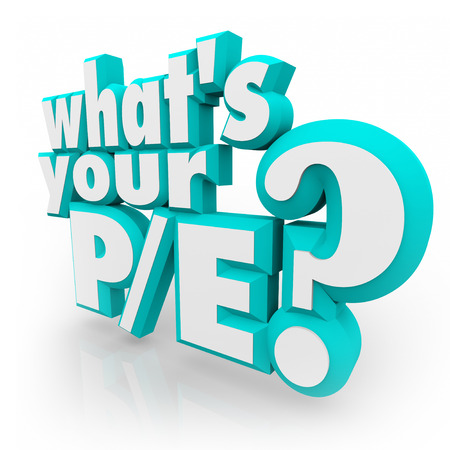 Whats Your PE? question in 3d letters asking if you know the price to earnings ratio or value for your company or business as an investment looking at revenue and stock cost photo