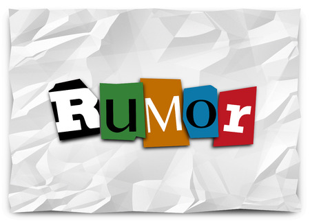 innuendo: Rumor word in cutout letters like a ransom note to illustrate spreading or sharing gossip, lies, untrue, unconfirmed news or misinformation