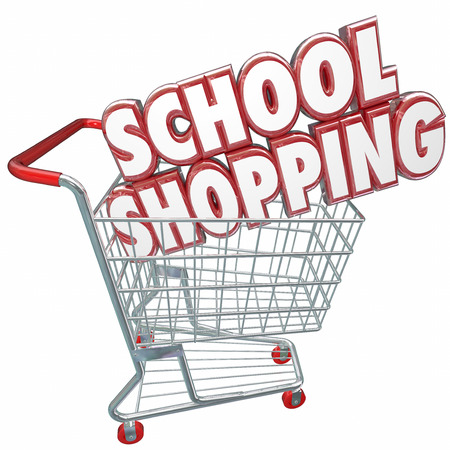 best schools: School Shopping 3d words in a shopping cart to illustrate comparing best colleges and universities or other private academic schools for better choice for your learning and training Stock Photo