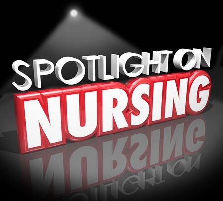 nurses: Las luces en palabras de Enfermer�a en letras 3d para ilustrar informaci�n para trabajar como enfermera en un trabajo o una carrera en el cuidado de la salud o de campo de la medicina