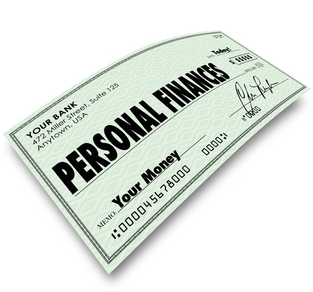 debt management: Personal Finances words on a check to illustrate accounting, bookkeeping or managing your expenses, bills, earnings and other money matters