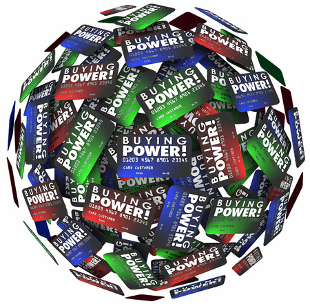 spending money: Buying Power words on credit cards in a ball or sphere to illustrate spending money and shopping for purchases with cash on loan to be paid later