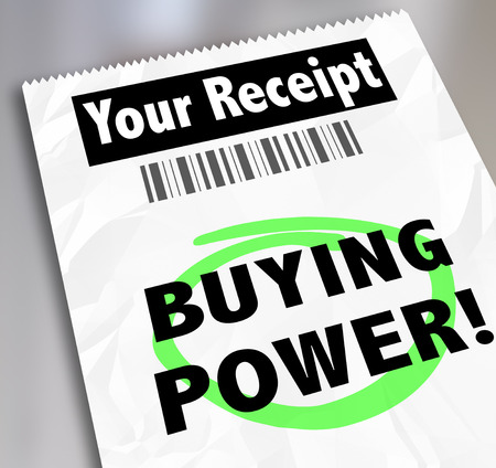 Buying Power words on your receipt for a purchase or shopping at a store where you saved money and got a great bargain, savings or discount for your cash Stock Photo