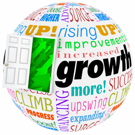 expansion: Growth word and related phrases like expanding, progress, climbing, increasing, and improving on a world or globe and open door to arrows rising upward to success and higher results Stock Photo