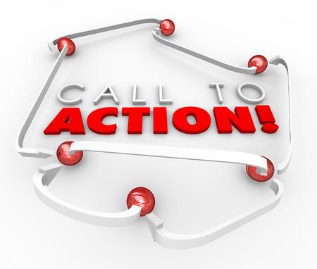 acion: Llamado a la Acción palabras en 3D rodeado de bolas o esferas conectadas por flechas para ilustrar la respuesta de los clientes al mensaje de marketing o publicitarias ventas