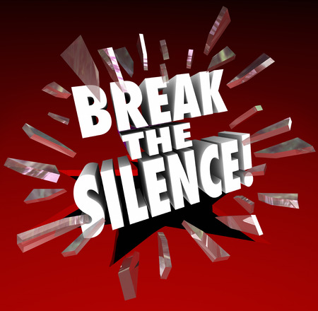 make belief: Break the Silence words in 3d letters crashing trhough red glass to illustrate protesting in injustice or censorship and raising your voice in defiance