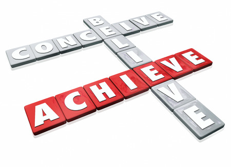 word game: Conceive, Believe and Achieve words on letter tiles for a game or competition illustrating that success or winning is a combination of ideas, confidence and effort