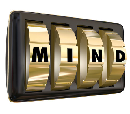 freed: Mind word with letters on lock dials to illustrate a vault of memories or ideas, or unlocking the potential of your brain power to succeed or win in life or career