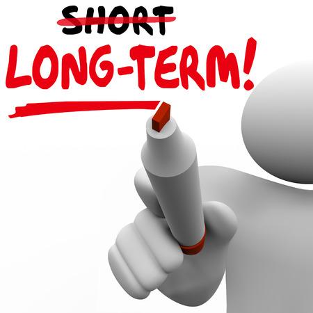 Langzeit Vs Short Worte geschrieben an Bord mit Marker, um einen Plan oder eine Strategie zu warten oder zu verzögern Ergebnis, Auszahlung oder Ergebnisse von Projekt oder Aufwand zu veranschaulichen