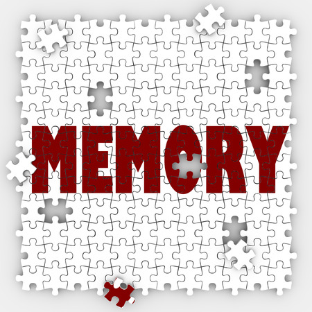 memorable: Memory word on puzzle pieces with holes to illustrate missing memories and losing ability to recall names, past facts, faces and other things that were once memorable