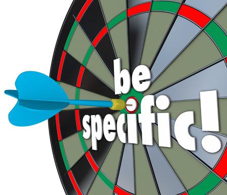 defined: Siate specifici parole 3d su un bersaglio per le freccette per indirizzare indicazioni precise e gli obiettivi definiti o obiettivi di un lavoro, di progetto o attivit�