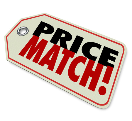 priced: Price Match words on a store merchandise tag or sticker to illustrate the best value or bargain guarantee to ensure this is the ultimate or lowest priced bargain around