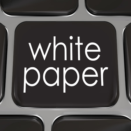 downloading content: White paper words on a black computer keyboard key or button to download a document or case study with information on how to achieve a goal, complete a task or attain success