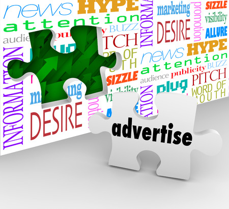 plugging: Advertise word on puzzle piece in front of hole in wall to illustrate the value or importance of advertising to market and sell your company, business, product or service